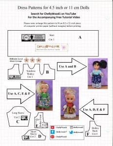 This image shows the visual JPG format of the free printable PDF sewing pattern for making three different styles of doll dresses to fit 4 inch to 4.5 inch dolls like Mattel's Chelsea dolls, Kelly dolls, Strawberry Shortcake dolls, Greenbrier dolls, and many more miniature dolls in the four-inch size range. The dress pattern includes a dress with long sleevs, a dress with short sleeves, and dresses with lace sleeves. All three dress styles include a felt bodice which is pretty easy to sew. On the ChellyWood.com difficulty scale, this dress pattern earns three flowers, which means it's difficulty level is about average. Go to ChellyWood.com to download the free printable PDF version of this pattern.