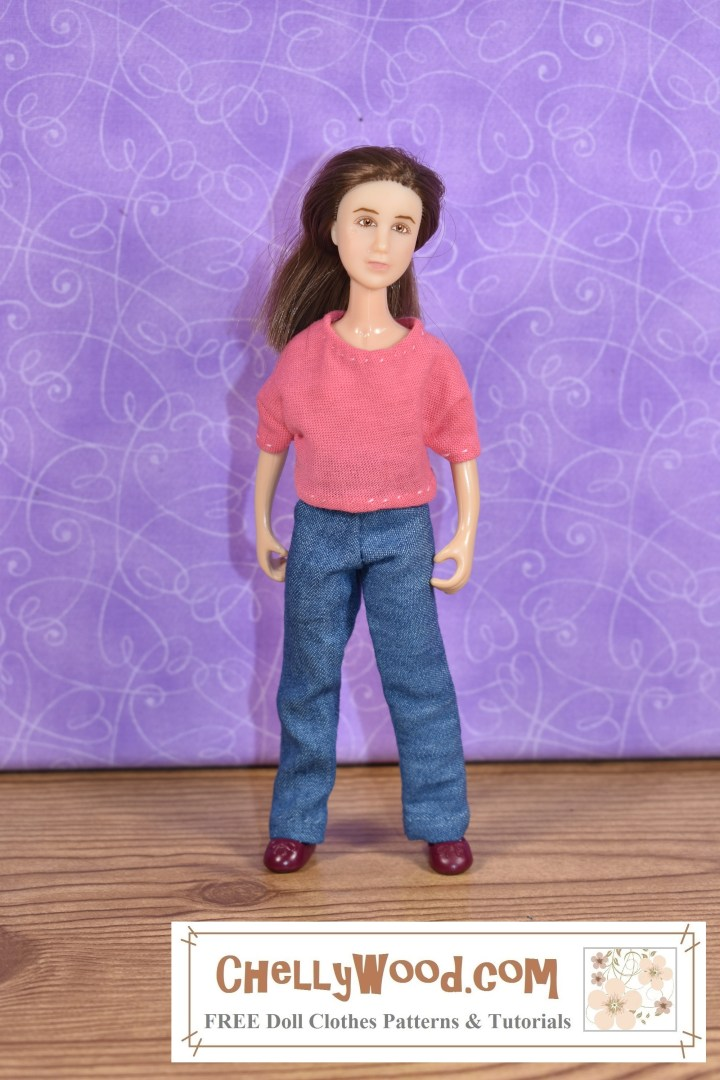 Please click here for all the free printable sewing patterns and tutorial videos you'll need to make an outfit like this jeans and a T-shirt combination that fits 6 inch dolls like the Breyer Rider dolls: https://wp.me/p1LmCj-GU8 The image shows a Breyer Classic Rider (6 inches tall) wearing handmade jeans with an elastic waist and a handmade T-shirt.