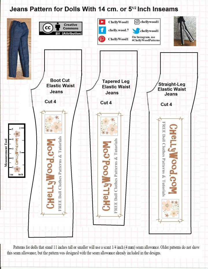 The image shows a pants or jeans pattern for dolls with a 14 cm or 5 and a half inch inseam. These are three different pattern styles including a boot cut jean, a tapered leg pants, and a straight-leg style of pants. The Watermark on the pattern says ChellyWood.com which is also where you can download and print this pattern as a PDF sewing pattern document. ChellyWood.com also offers a free sewing tutorial video showing how to sew these pants for your doll's wardrobe.