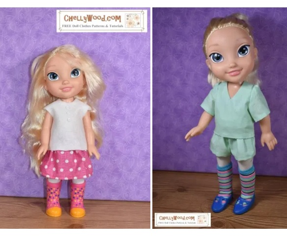 The image is a screenshot of the small gallery page which offers a sleeveless shirt and skirt pattern link, as well as a v-neck short sleeved shirt and shorts pattern link to free printable PDF sewing patterns for making two different outfits to fit the Disney princess toddler dolls.