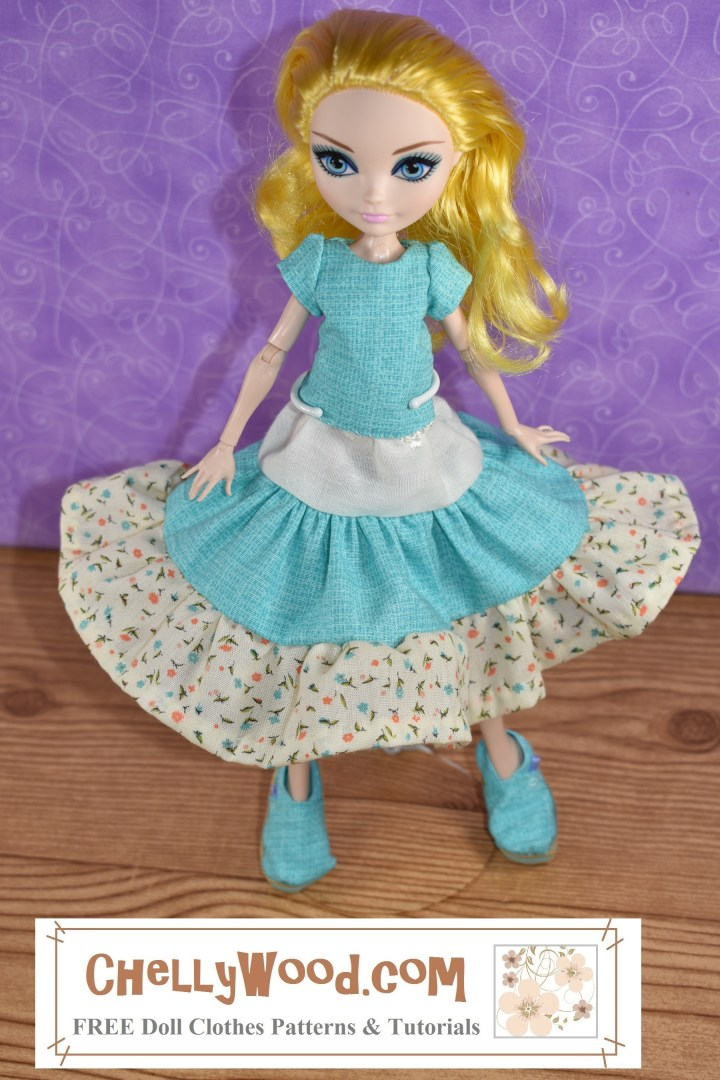 The image shows a Monster High or Ever After High doll wearing a handmade outfit which looks very gypy-like. It includes shoes that look like Toms (handmade), a 3-tier skirt in three different colors of fabric, and a handmade short-sleeved shirt. The camera angle is from above, so the skirt looks even more full.
