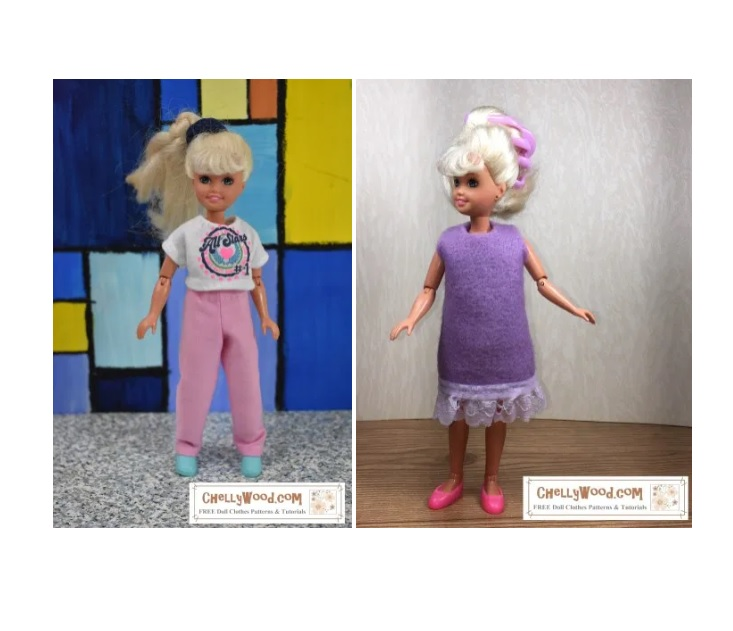 The image shows two of the doll clothes outfits that are offered on the gallery page for the 7.5 inch (19 cm) retro vintage Stacie dolls from the 1980's. One outfit is a pair of pants with a T-shirt. The other is an easy-to-sew felt dress with lace trim. In this gallery, you will find links to free printable PDF sewing patterns to fit dolls in this 19 cm or 7.5 to 8 inch size range, like the vintage Stacie doll shown.