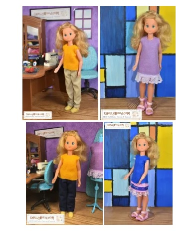"The image shows four different outfits you can make using the free printable PDF sewing patterns designed by Chelly Wood of ChellyWood.com to fit the 9 inch Sunshine Family female or ""mom"" dolls."