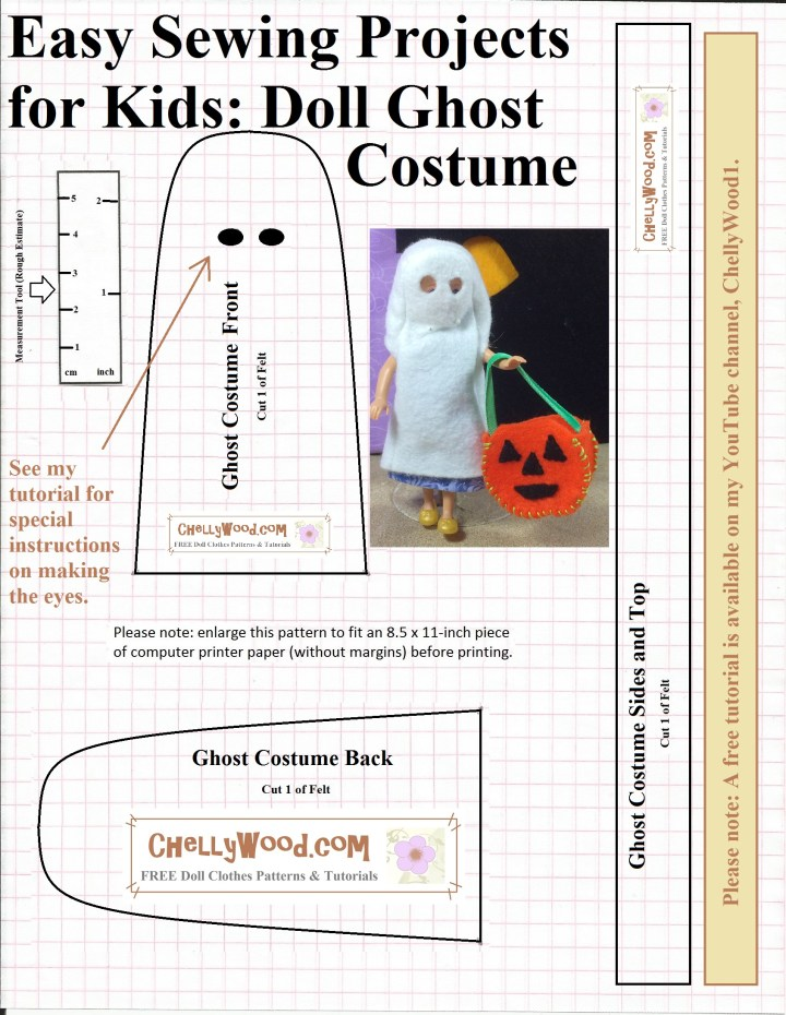 The image shows a tiny 5 inch doll modeling a cute ghost costume made of felt. She appears to be trick-or-treating with her pumpkin-shaped candy bucket. The photo is part of a printable pattern for the ghost costume, which you're free to download at ChellyWood.com