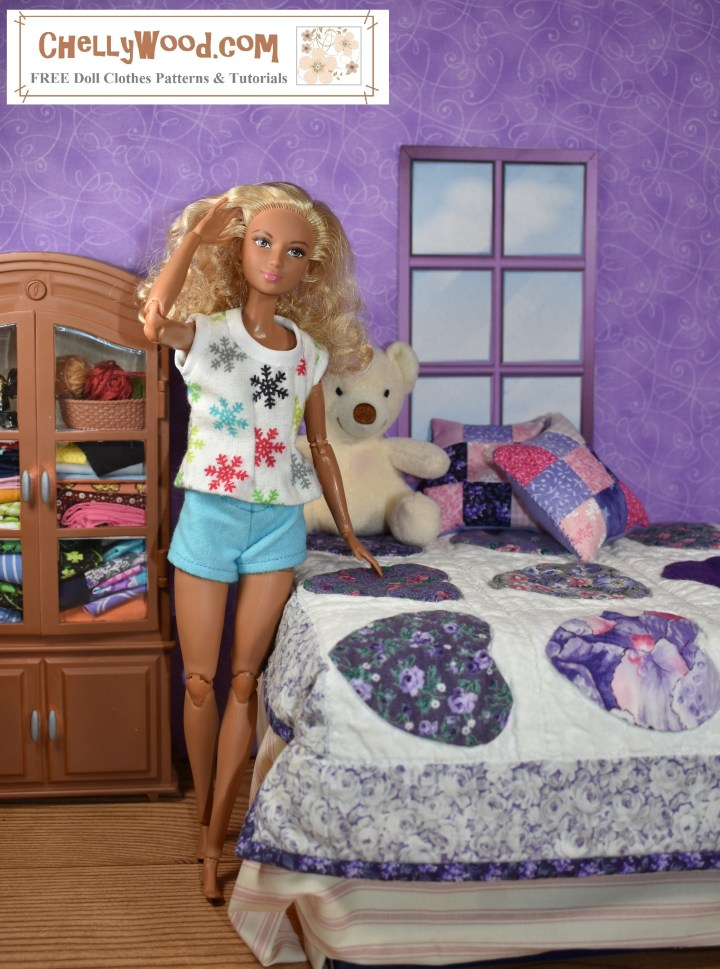"In this photograph, a Made to Move Barbie models a pair of handmade ""booty shorts"" with a short-sleeved shirt that's trimmed in white bias tape. She stands in a bedroom with her quilted bed beside her, some pillows, a stuffed animal, and a dresser gracing the diorama."