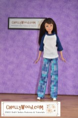 This image shows a Mattel Skipper doll (little sister of Barbie) wearing handmade pants and a tee shirt. The pants are made of cotton, and the t-shirt is made of a jersey cotton blend. The fabric of the pants is a mosaic of squares in various shades of blue and turquoise. Her navy-blue-and-white T-shirt matches the pants in this comfortable casual-wear outfit. Click on the link in the caption, and it will take you to a page where you can download and print all the free printable sewing patterns for making these doll clothes, along with links to tutorial videos that show you how to make this outfit.