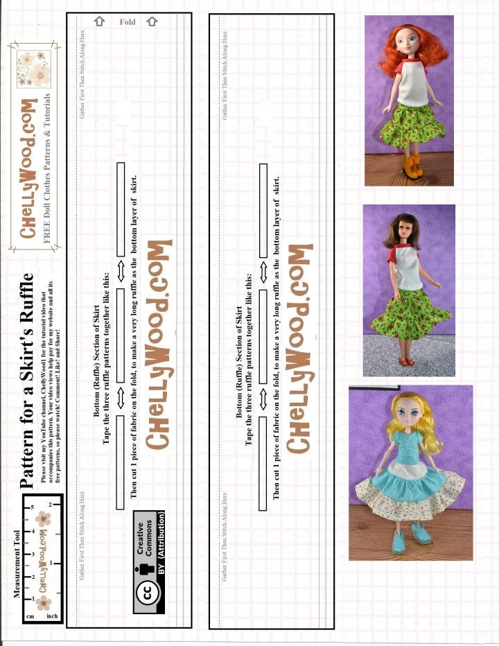 This is the JPG version of a free printable PDF sewing pattern that's available at ChellyWood.com for making a 3-tiered layered skirt with ruffled layers. The skirt is shown on three different dolls: a disney princess doll, a vintage Francie doll, and an Ever After High doll, to demonstrate that these are typical dolls which can fit in this skirt. This pattern, which is Pattern 2, is the bottom tier... the ruffle.