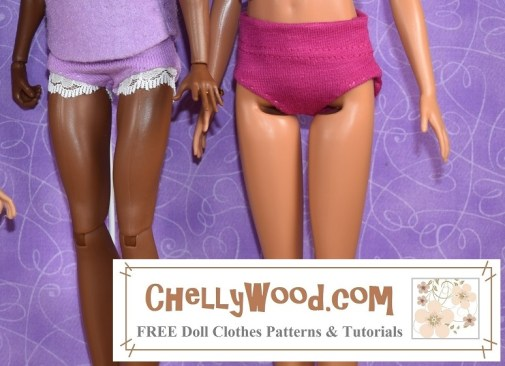 The image shows two fashion dolls wearing handmade underpants / underwear / knickers / panties. If you want to make these underpants for your fashion dolls, the free printable PDF sewing pattern can be found at the link in the caption. This pattern will fit a wide variety of dolls including but not limited to vintage Francie dolls, spin master Liv dolls, Mattel's Skipper dolls, DC Superhero dolls, Tall Barbie, Queens of Africa dolls, 11 inch Disney Princess dolls, Petite Barbie dolls, Momoko dolls, and vintage Barbie dolls, along with modern Barbies and Made to Move Barbie.