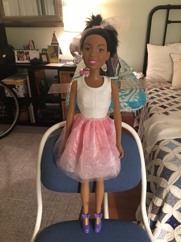 The image shows a 28 inch Best Fashion Friend Barbie wearing handmade doll clothes. The sewist who made these doll clothes used free printable sewing patterns from ChellyWood.com and the patterns can be found at https://wp.me/p1LmCj-Gh9 if you'd like to make this outfit too. Special thanks to Susan N for sharing these images with everyone!