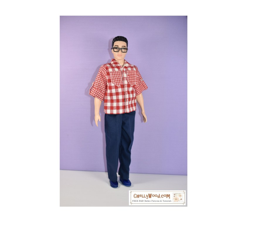 The image shows a framed photo of Broad Ken wearing a handmade red gingham shirt with handmade navy-colored trousers. If you would like to download the free printable PDF sewing pattern for making these broad ken doll clothes, please go to ChellyWood.com