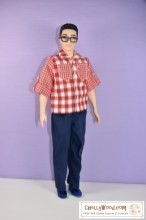 Please click on the link in the caption if you'd like to download the free patterns and watch the free DIY tutorial videos for making these doll clothes to fit Broad Ken. The image here shows a Mattel Broad Ken fashion doll modeling handmade doll clothes which include a pair of elastic waist pants and a camp shirt with pockets, rolled sleeves, and sleeve tabs and a collar. Free patterns for sewing this outfit are found at ChellyWood.com and they will fit Broad Ken and similar sized male fashion dolls. There's a list of all the dolls and action figures that can wear this outfit at ChellyWood.com