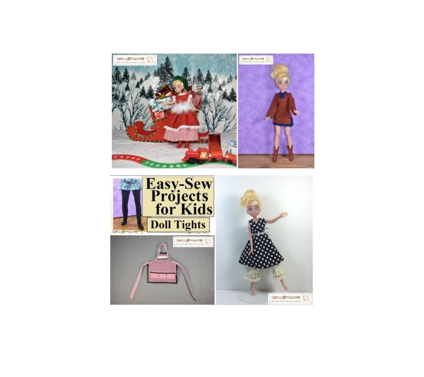 The image shows a Tinkerbell Fairy doll dressed in several different outfits, all handmade. If you'd like to sew doll clothes to fit your Tinkerbell fairy doll (nine and a half inches tall) please visit ChellyWood.com where you can find free printable sewing patterns and tutorial videos showing how to make lots of different doll clothes for dolls of many shapes and sizes, each with a free tutorial video showing you how to make it.