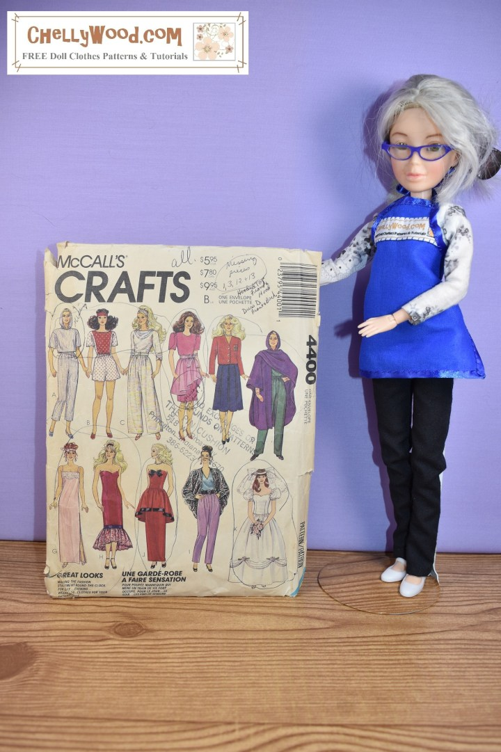 The image shows the Chelly Wood doll holding up a McCall's Crafts sewing pattern which displays the finished projects of a Barbie sized wedding dress, various pants and shirts, a cape, and evening gowns. The article that goes with this image offers advice for buying sewing patterns for making doll clothes, using the eBay auction platform. Please visit ChellyWood.com for additional sewing ideas plus free printable sewing patterns and tutorial videos for making doll clothes to fit dolls of many shapes and all different sizes.