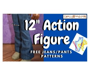 "The image shows a GI Joe action figure wearing a pair of handmade jeans with a boot cut leg (sort of bell bottom pants). The overlay says 12"" Action Figure free jeans / pants patterns"" and it offers the URL ChellyWood.com, which is a website that offers hundreds of free printable sewing patterns for making doll clothes to fit dolls of many shapes and all different sizes."