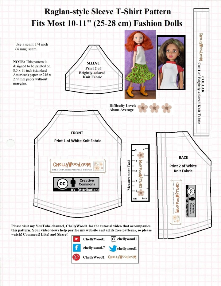 This is a graphic image of a free printable PDF sewing pattern for a raglan-sleeved T-shirt (tee shirt) that fits most 10 to 11 inch fashion dolls, like Barbie, Spin Master Liv dolls, Disney Princess fashion dolls, Momoko, and Queens of Africa dolls. If you'd like to download the free printable sewing pattern for these doll clothes, and/or you'd like to watch the free tutorial video showing how to make this raglan-sleeve tee shirt, please visit ChellyWood.com
