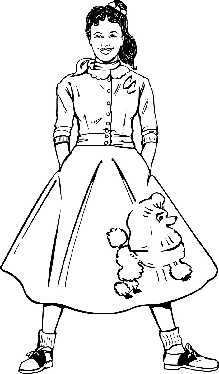The image shows a girl with a pony tail wearing a classic poodle skirt from the 1950's. She wears her hair up in a pony tail. This illustration is used in a blog article about how to sew a poodle skirt for a vintage Barbie doll, and the article on the website offers advice for the best sewing pattern for making such a skirt. Visit ChellyWood.com to read the article.
