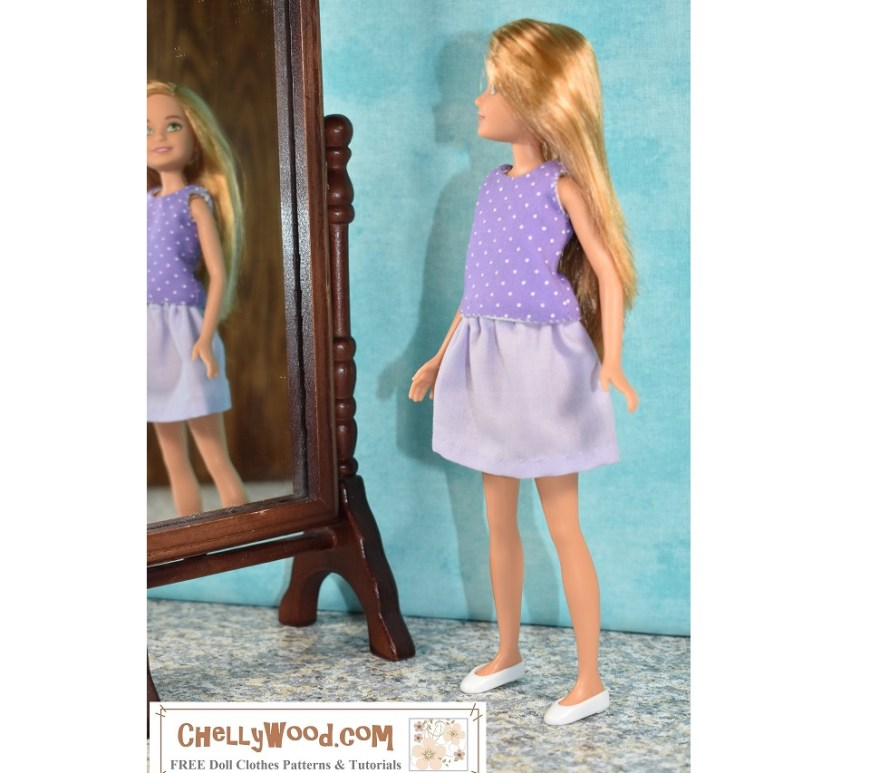 The image shows Barbie's little sister Stacie wearing a handmade tank top that's purple with white polka dots over a short lavender-colored skirt. The little doll peers into a standing mirror, and in the mirror's reflection we see Stacy's smiling face. It looks like she's very pleased with her handmade doll clothes! If you'd like to make this summer shirt and short skirt doll clothes set for Stacie or another 8-inch or 9-inch doll (like Lottie dolls, Bratz dolls, Mego female action figures, or similar sized dolls), visit ChellyWood.com where you can find the free printable PDF sewing patterns and tutorial videos that will show you exactly how to sew these doll clothes.