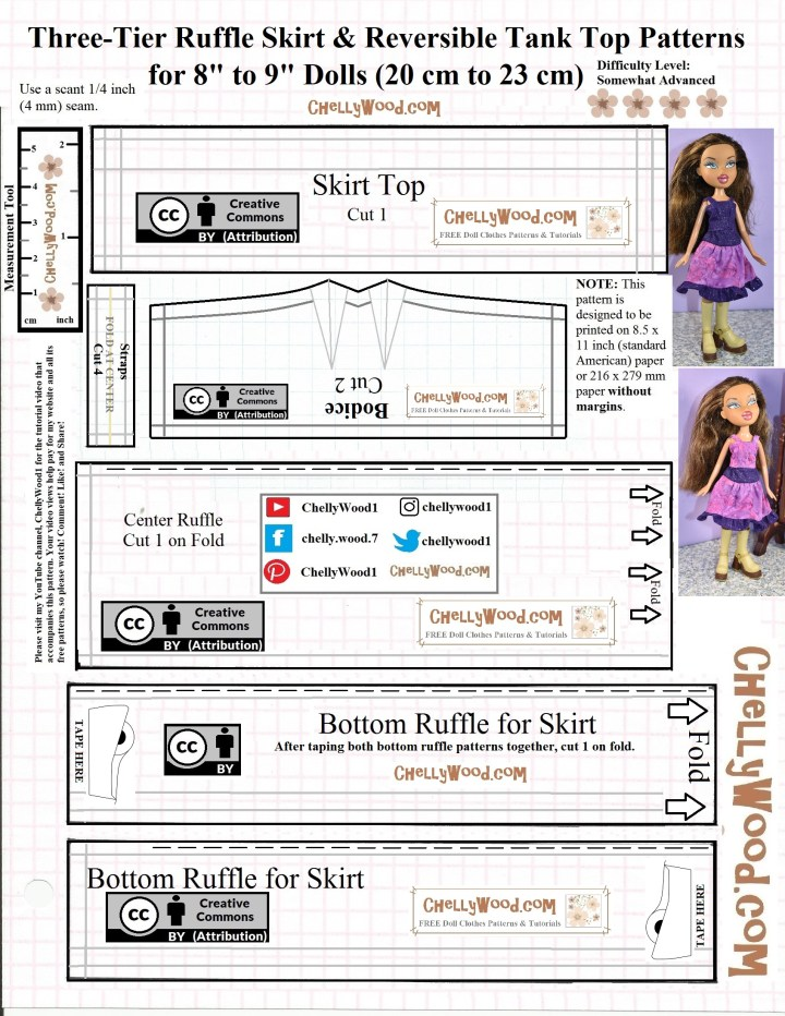 "This is the JPG image of a free printable PDF sewing pattern that can be found at ChellyWood.com (a website for free printable sewing patterns for making doll clothes to fit dolls of many shapes and all different sizes). The pattern is for making a dress or tank top with skirt to fit an 8"" or 9"" fashion doll like the Bratz dolls from MGA Entertainment Inc. (among others). Please go to ChellyWood.com for the free printable PDF version of this pattern."