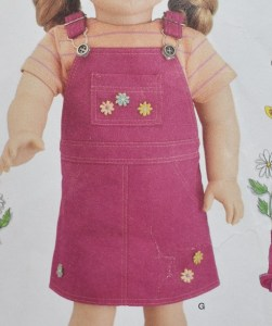 This image of a denim overalls dress with top stitching comes from Simplicity pattern #4654 and is not associated with the free doll clothes pattern website, ChellyWood.com