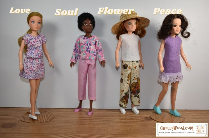 The images shows and names all four of the original World of Love dolls from Hasbro. They are shown in the following order: Love, Soul, Flower, and Peace. Each of them wears a handmade outfit. Love wears a miniskirt with matching short sleeve top. Soul wears a long-sleeved shirt with pink ankle pants. Flower wears a longer pair of pants with a sleeveless felt shirt. Peace wears a short-skirted dress made of felt, and the dress is trimmed in matching purple eyelet (to match the felt of the dress). If you would like to learn to sew these outfits for your 8 inch or 9 inch dolls, please visit ChellyWood.com where you can download the patterns for free and watch a sewing tutorial video showing how to make these doll clothes, many of which are quite easy to make.