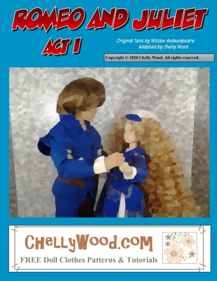 The image shows a Ken doll dressed as Romeo and a Momoko doll dressed as Juliet. The image has been altered using Paint2 style in Comic Life, to give it a soft, painted look to the photograph.