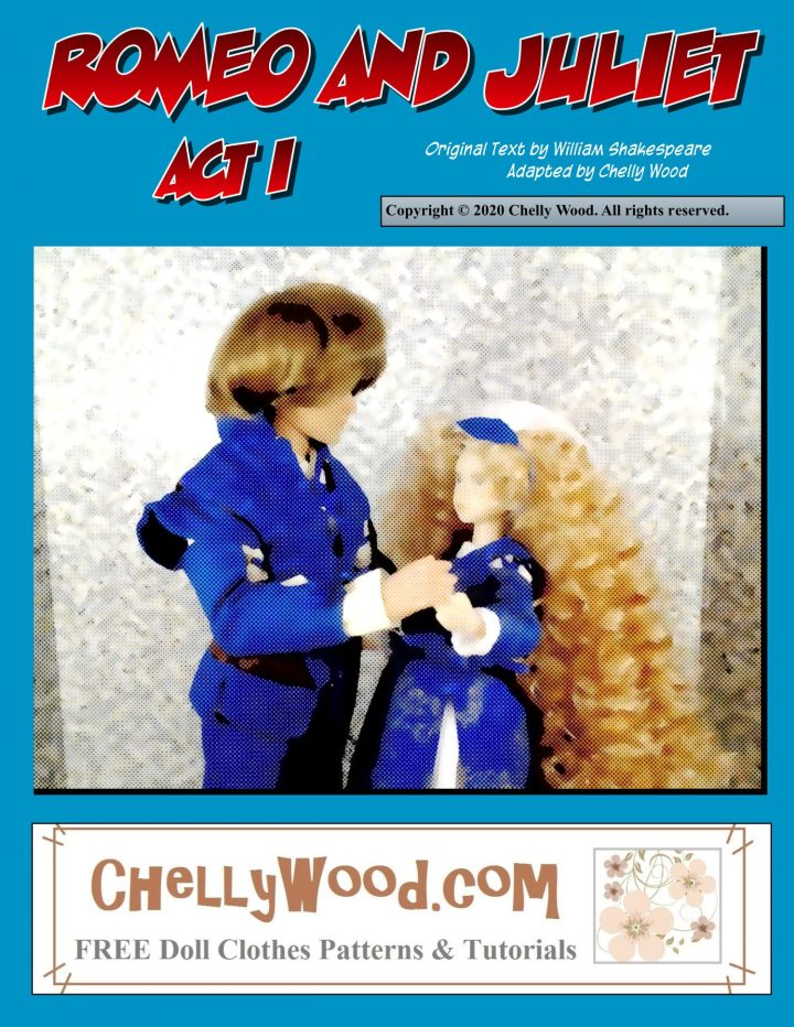 This is the front cover of a graphic novel of Romeo and Juliet. The cover art includes images of two dolls: Ken dressed as Romeo and Momoko Doll dressed as Juliet. The two dolls hold hands. They wear bright cobalt blue costumes that are Renaissance period-correct. Their faces are blurred somewhat and the details of their clothing is obscured by the smooth painted look of this comic book style.