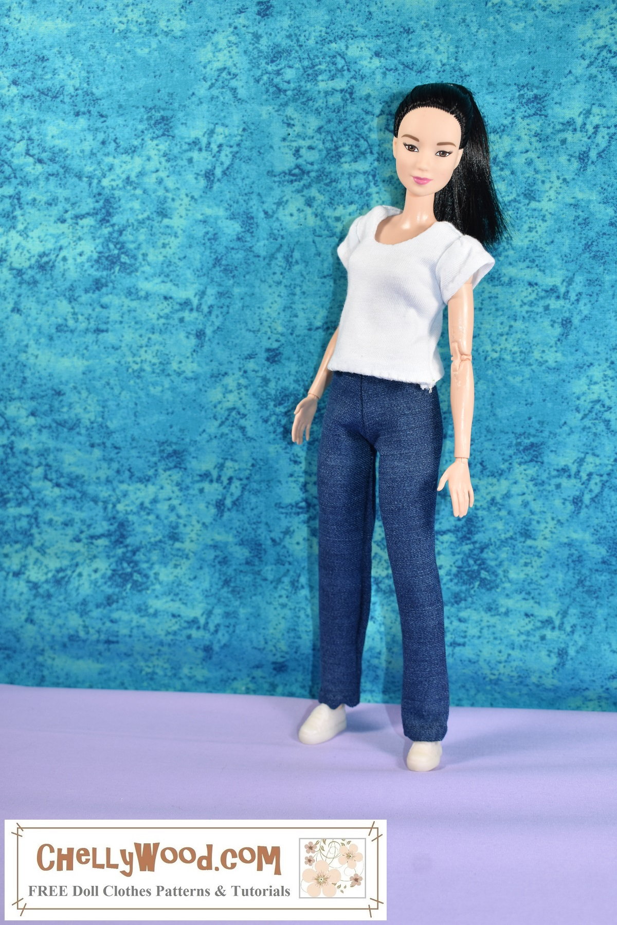 Click on the link in the caption for free patterns and tutorial videos for making this pair of jeans and a T-shirt to fit 11.5 inch or 29 cm dolls like Barbie, Francie, Queens of Africa, and Spin Master Liv dolls.