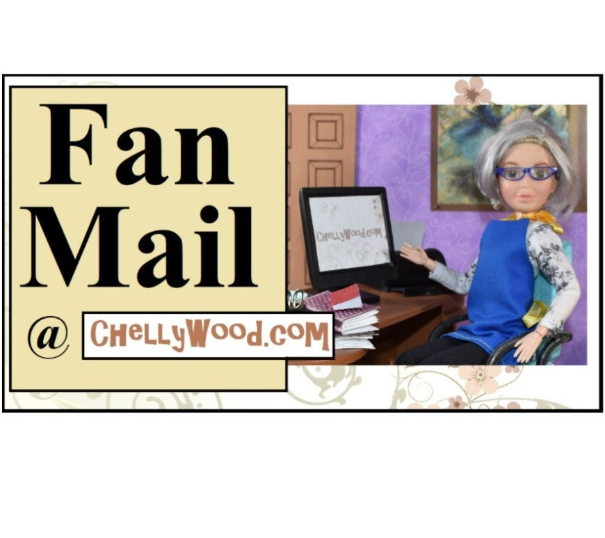 "The image shows the OOAK Liv Doll ""Chelly Wood"" at her computer in her tiny dolly diorama office. Behind her is a painting of ballerinas by Degas. The overlay says, Fan Mail and offers the at symbol followed by the URL ChellyWood.com, a website where there are hundreds of free, printable sewing patterns for doll clothes to fit dolls of many shapes and sizes. This is the featured image for a blog post that answers a fan mail letter asking about copyrights on sewing patterns."