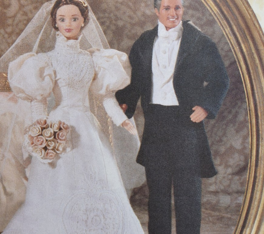 This is a close-up image of Vogue Craft Pattern 9985 for sewing a Victorian wedding dress for a Barbie doll and for sewing a Victorian tux with tails for a Ken doll. To learn more about this pattern, check out the review at ChellyWood.com