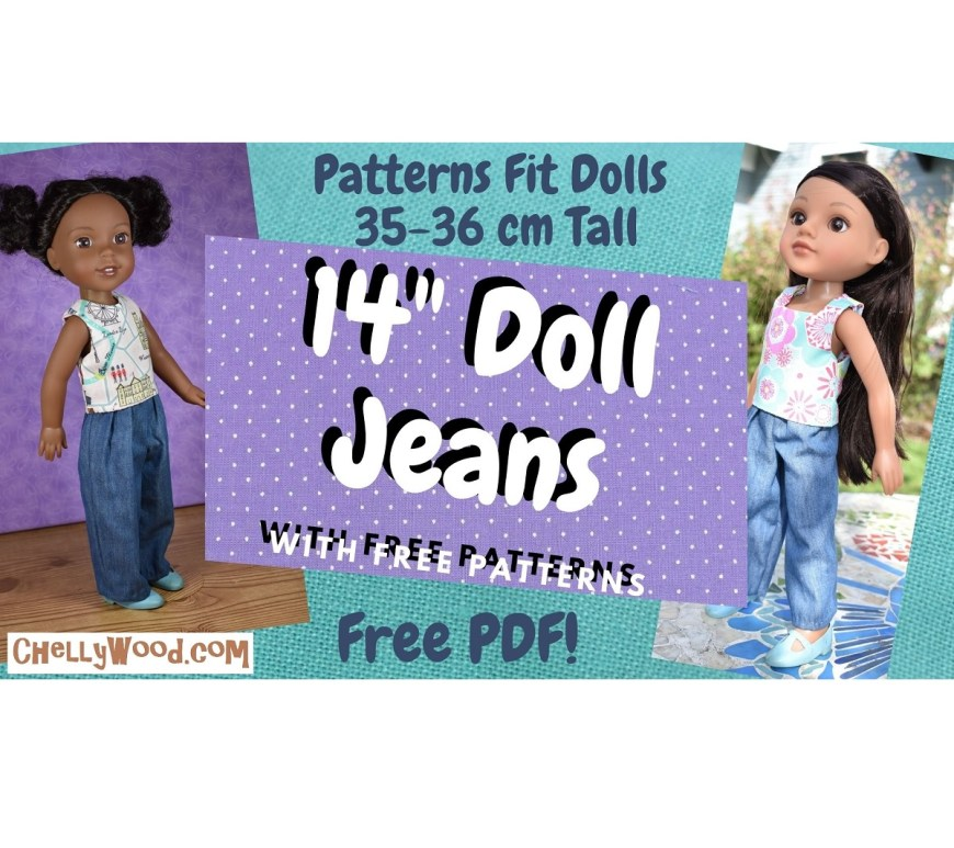 The image shows a Wellie Wishers doll and a Hearts for Hearts girl wearing handmade jeans. If you'd like to download and print the free PDF sewing pattern for making these jeans and other doll clothes to fit your 14 inch dolls, visit ChellyWood.com