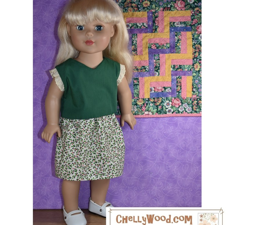 "The image shows a Madame Alexander 18 inch doll (45-46 cm tall) wearing handmade holiday clothes. Her outfit includes a V-neck shirt in holiday green with creamy eyelet lace sleeves and a white skirt decorated with tiny holly leaf and holly berry print fabric. The doll wears patent leather Mary Jane shoes, and she stands before a purple wall on which hangs a miniature quilt with a zig-zag pattern of fabrics in greens, purples, pinks, and yellows. The watermark on the image says ""ChellyWood.com: free doll clothes patterns and tutorials."" If you would like to make this outfit for your 18 inch doll, please visit ChellyWood.com and navigate to the page for 18 inch doll clothes patterns and tutorials. This outfit will fit most 18-inch dolls such as the Adora Amazing Girls dolls, the Our Generation Journey Girls, the ""My Life As"" Dolls, 18-inch Dolls from American Girl doll company, City Girls from the New York Doll Collection, and as shown, the Madame Alexander 45 to 46 cm dolls."