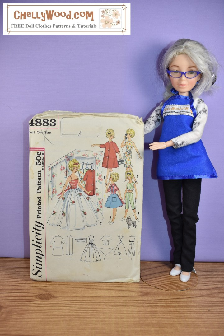 The image shows the Chelly Wood doll (it's really a Spin Master Liv doll that has had its face repainted and its hair dyed white-ish-grey) holding up a Simplicity doll clothes pattern #4883 for sewing a wardrobe to fit vintage Tammy dolls from Ideal Toy Corp. The article associated with this image asks blog followers to leave comments describing the first doll clothes pattern they learned to sew from as a child. Visit ChellyWood.com to join the discussion!