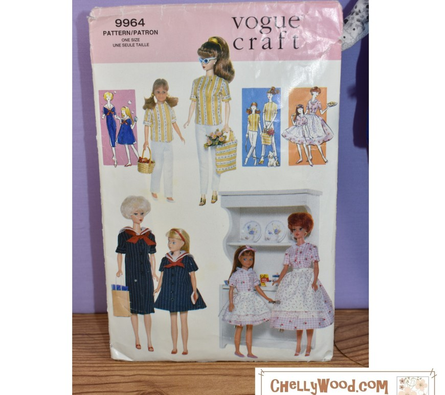 Here we see the full front display of Vogue Craft Pattern #9964, which offers patterns for making doll clothes that will fit a vintage Tutti, vintage Skipper, Vintage Barbie, Bubble Hair Barbie, and vintage Midge dolls.