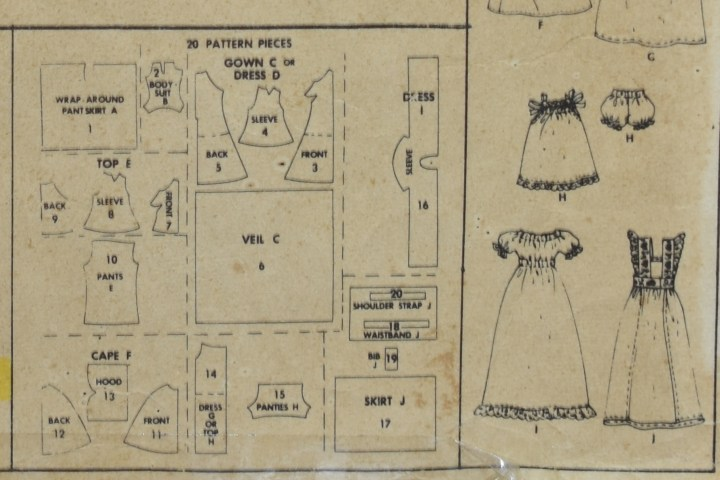 The image shows the pattern pieces for McCall's Teen Doll Pattern 3429 whcih fits Mattel's Barbie.