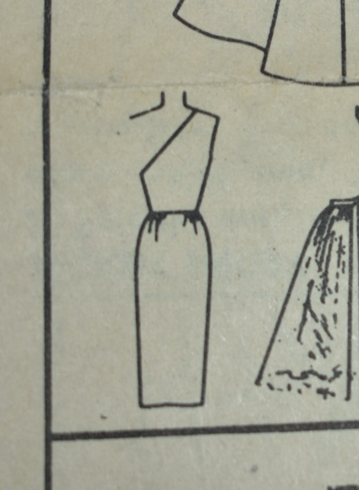 The image shows a line drawing of the off-the-shoulder dress concept from Simplicity doll clothes sewing pattern 4510.