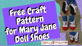 Click on the link in the caption to navigate to the page where you can download and print the craft pattern for making Mary Jane style shoes for dolls with larger feet. The image shows a pair of Mary Jane style shoes on the feet of a Draculaura Monster HIgh doll. If you'd like to make these shoes, there's a DIY tutorial on ChellyWood.com along with a free printable PDF pattern for making these doll shoes, which will fit Kuu Kuu Harajuku dolls, Monster High dolls, Ever After High dolls, and Moana 10 inch dolls.