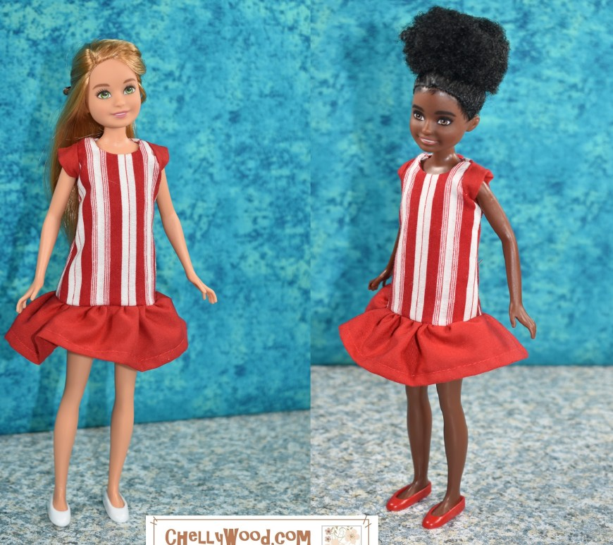 This image shows two Mattel Stacie (sister of Barbie) dolls. One is an African American Stacie doll and the other is a white or Caucasian Stacie doll. They both are wearing a pretty handmade dress that has red and white fabric designed like a peppermint candy. For the patterns and tutorial videos showing how to make this dress, please visit ChellyWood.com, a website best known for its free printable sewing patterns and tutorial videos for making doll clothes to fit dolls of many shapes and all different sizes.