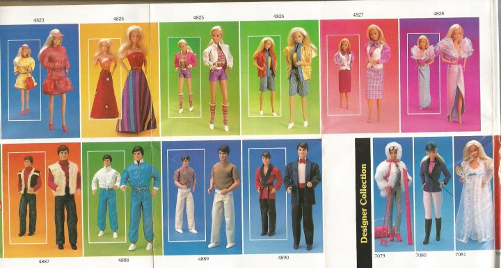 This image shows several Barbie fashions from 1985, including clothes for Skipper, Ken, and Barbie from that era.