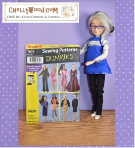 Please visit ChellyWood.com for free printable sewing patterns for making doll clothes to fit dolls of many shapes and all different sizes. The image shows the Chelly Wood (repainted Liv) doll holding up a copy of Simplicity doll clothes pattern number 7073, which fits most 11 to 11 and a half inch fashion dolls like Barbies. The watermark on this image directs you to go to ChellyWood.com for free doll clothes patterns and tutorials.