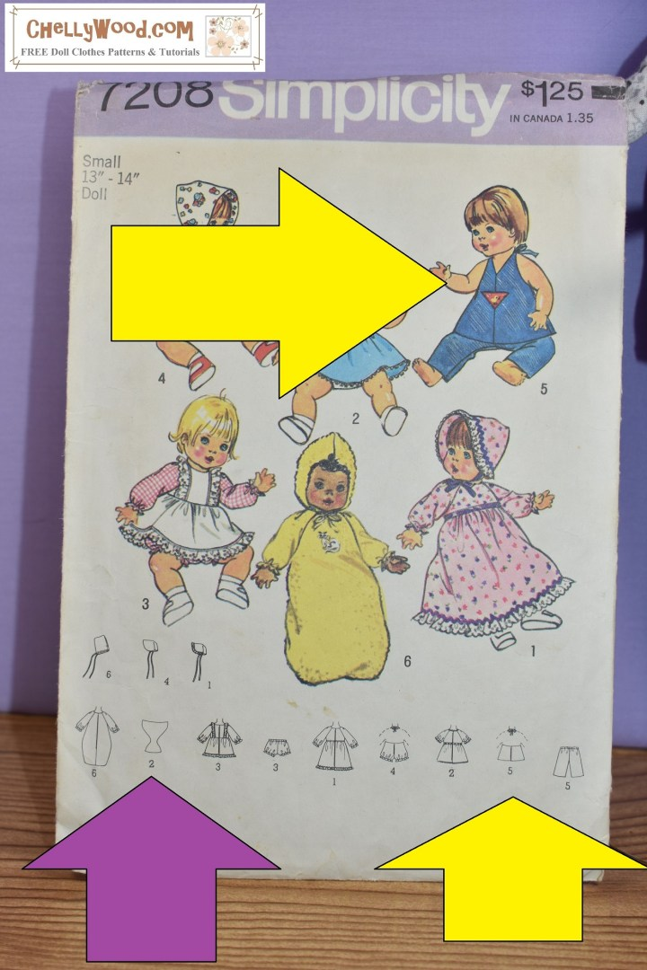 Simplicity doll clothes pattern number 7208 is overlaid with two yellow arrows. One points at the image of a doll wearing a halter top. The other points at a line drawing of a halter top with a focus on the closure at the back. There's also a purple arrow pointing at the line drawing of a diaper pattern. The watermark reminds us to visit Chelly Wood Dot Com to find free printable sewing patterns for making doll clothes to fit dolls of many shapes and all different sizes.