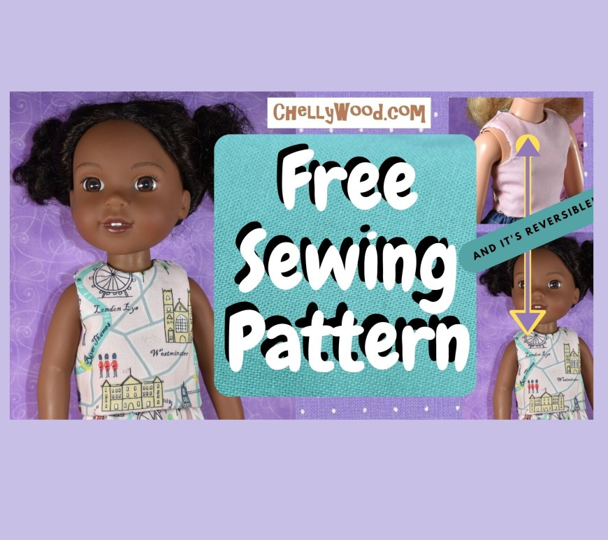 This image is the video header for a tutorial video showing how to make a reversible doll shirt to fit Wellie Wisher dolls.