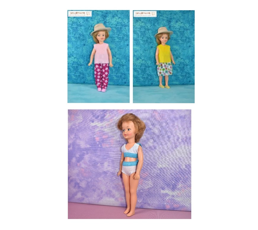 The image shows three simple to sew outfits for vintage Pepper dolls: a pair of pants with a shirt, a floral skirt with a sleeveless top, and a set of underwear (or a bikini style swimsuit). This image comes from ChellyWood.com where you can find hundreds of free printable sewing patterns for making doll clothes to fit dolls of many shapes and all different sizes.