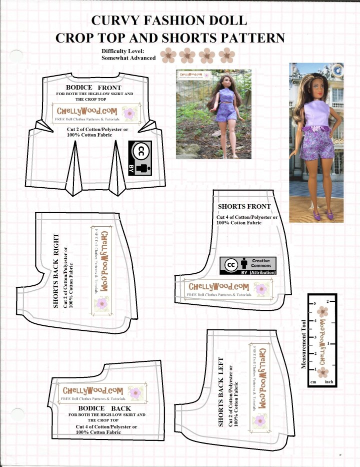 This is a JPG image of a free printable sewing pattern that's offered as a PDF downloadable pattern at ChellyWood.com. It includes the crop top shirt and high waisted shorts pattern pieces that fit Curvy Barbie and similar sized dolls.