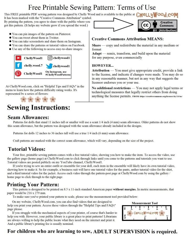 """This image shows the """"terms of use"""" for ChellyWood.com's PDF sewing patterns. It includes the """"Creative Commons Attribution"""" mark and explains how this mark protects the rights of the pattern designer. It also explains seam allowances, sewing instructions, and the difficulty scale."""