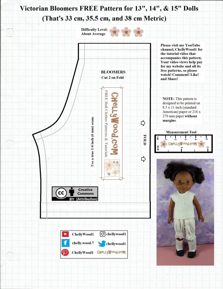 The image shows the pattern for making a pair of Victorian bloomers (historical underwear) for a 15 inch doll like Wellie Wishers, Hearts for Hearts Girls, and similar sized dolls.