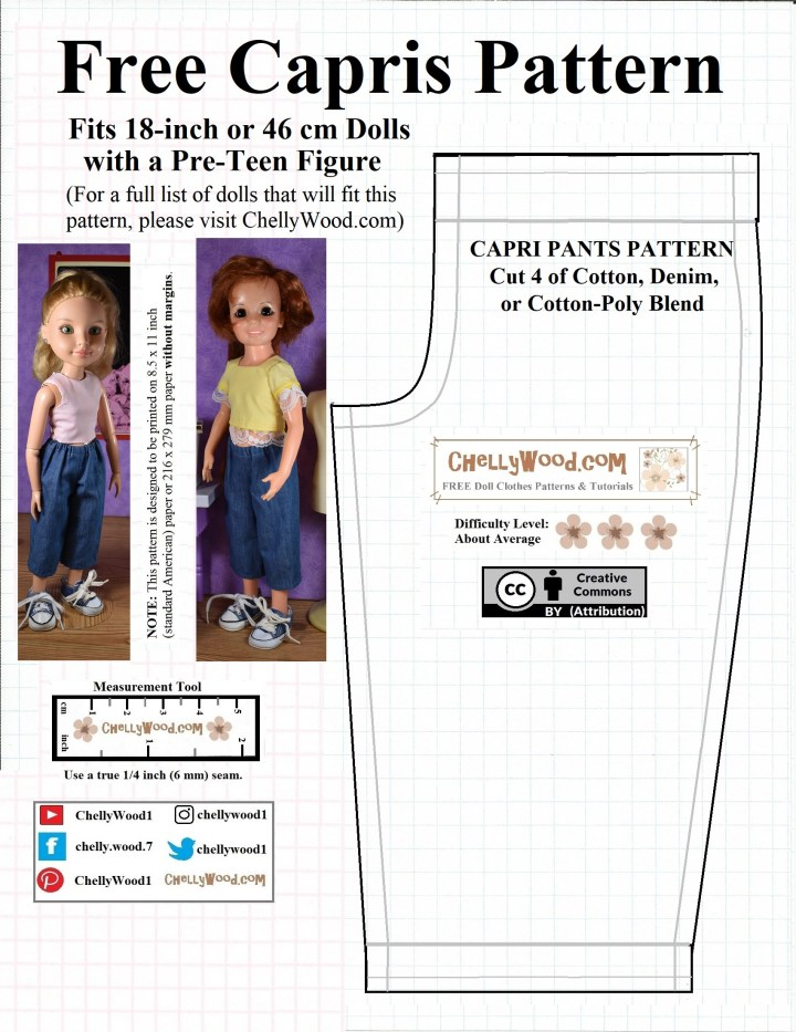 """This JPG image shows both the Ideal Crissy doll and the BFC Ink jointed dolls wearing a pair of denim capri-length pants. The dolls are displayed to the left of the actual pattern for sewing the capri pants. The pattern says, """"Free capris pattern"""" and on the pattern itself, it offers the following guidelines: """"cut 4 of cotton, denim, or cotton-poly-blend"""". There's a """"Creative Commons Attribution"""" mark on the pattern itself, along with the watermark for ChellyWood.com, and the pattern also has written instructions for printing, measurement, and seam allowances."""