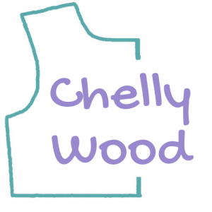 """This image shows the logo for ChellyWood.com, a website that offers free, printable sewing patterns for making doll clothes to fit dolls of many shapes and all different sizes. It's a turquoise outline of a bodice pattern with the name """"Chelly Wood"""" stacked inside the pattern itself."""