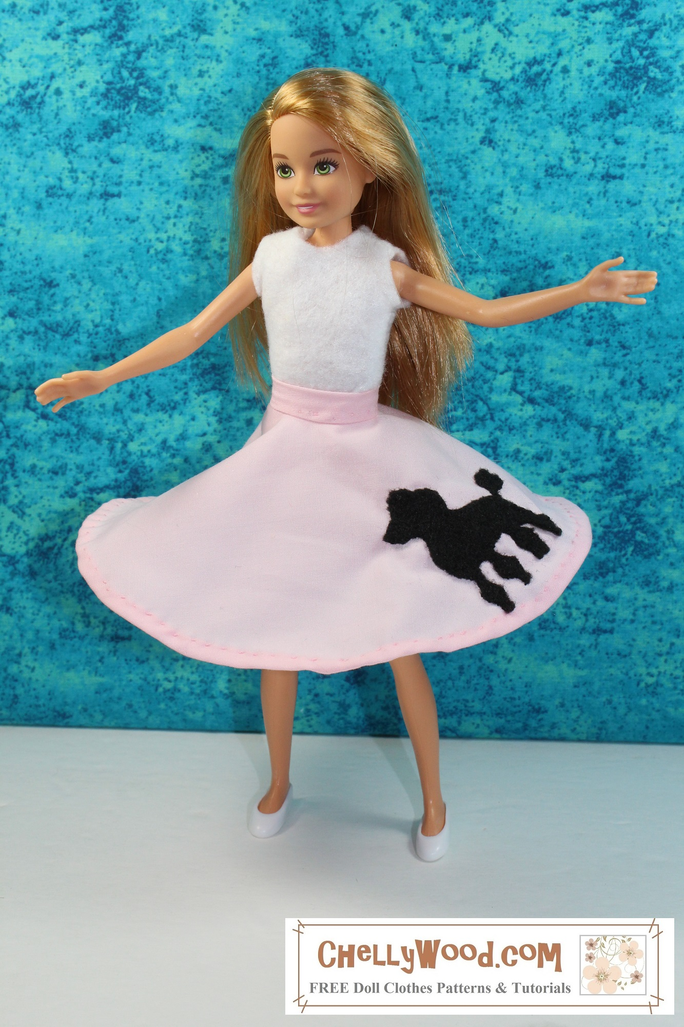 """The image shows a Mattel Stacie doll wearing handmade doll clothes that include a felt sleeveless shirt and a pink poodle skirt that flares outward, as if Stacie is spinning around. The overlay says, """"ChellyWood.com: free doll clothes patterns and tutorials,"""" reminding you to visit ChellyWood.com for your free printable sewing patterns for making doll clothes to fit dolls of many shapes and all different sizes. Would you like to make today's pink poodle skirt with a felt poodle patch sewn onto the skirt, along with the easy-to-sew felt sleeveless top? Please click on the link in the caption, and it will take you to the page where you can download and print the free printable PDF sewing patterns for making this outfit."""
