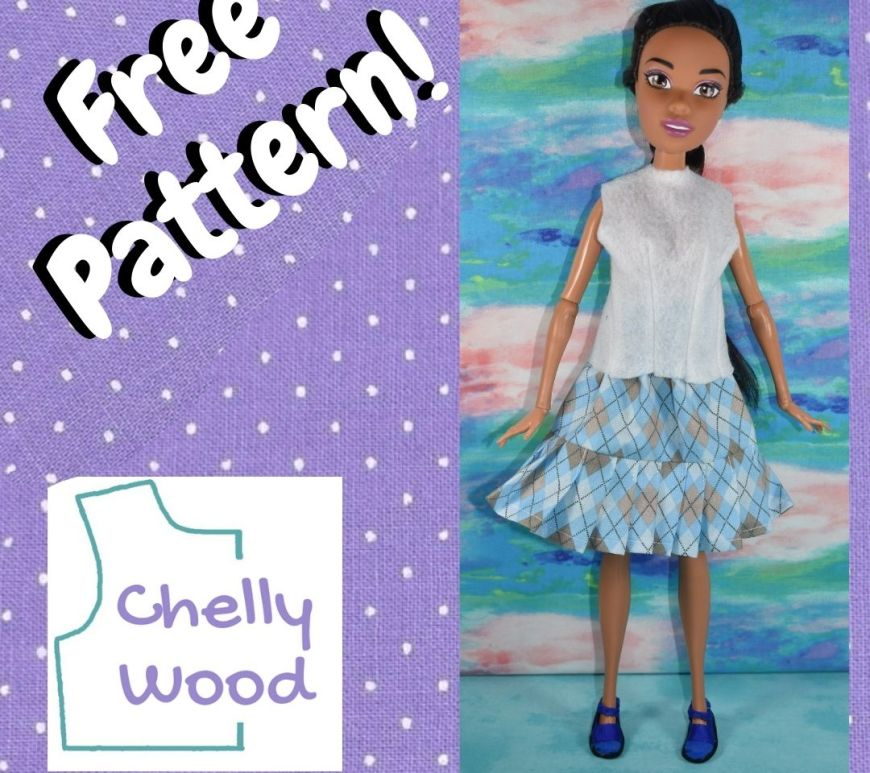 """Here we see an image of the 17 inch Endless Hair Kingdom Barbie from Mattel, wearing a handmade short-sleeved shirt, skirt, and even handmade shoes. The words on the purple polka dot background frame say, """"Free Pattern!"""" and the logo for ChellyWood.com is provided."""