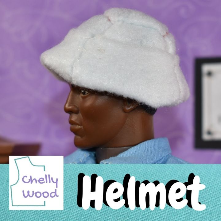"""This is a square image showing a GI Joe action figure wearing a white pith helmet like British Foreign Service soldiers might have worn around the early 1900's or late 1800's. The watermark image shows an outline of a bodice pattern and says """"Chelly Wood,"""" reminding us to visit ChellyWood.com for free printable sewing patterns for making clothes to fit dolls and action figures of many shapes and all different sizes."""